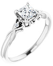 1/2 Carat Princess-Cut Diamond Engagement Ring with Heart Accent