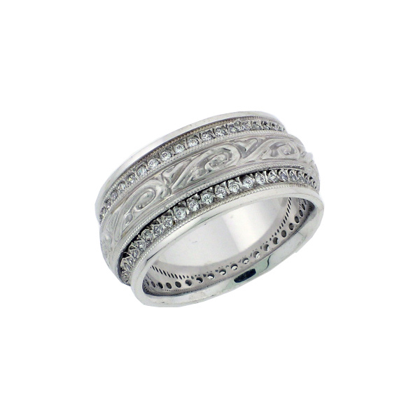 1/2 Carat Vintage Style Wide Diamond Paisley Wedding Band Ring
