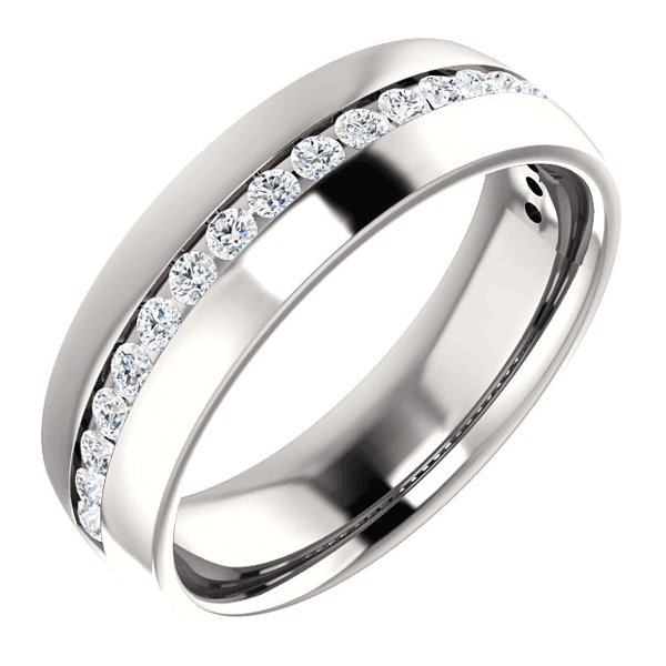 1/3 Carat Channel-Set Diamond Wedding Band Ring for Men or Women