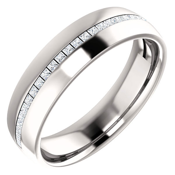 1/3 Carat Channl-Set Princess-Cut Diamond Wedding Band Ring, 14K White Gold
