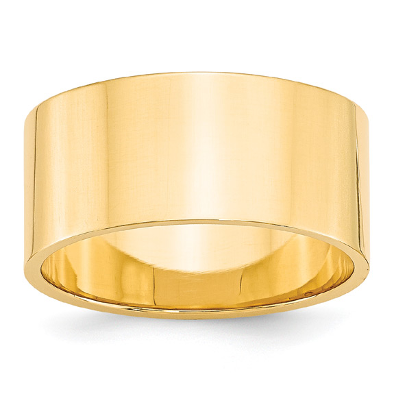 10mm Wide Flat Plain Wedding Band Ring in 14K Gold