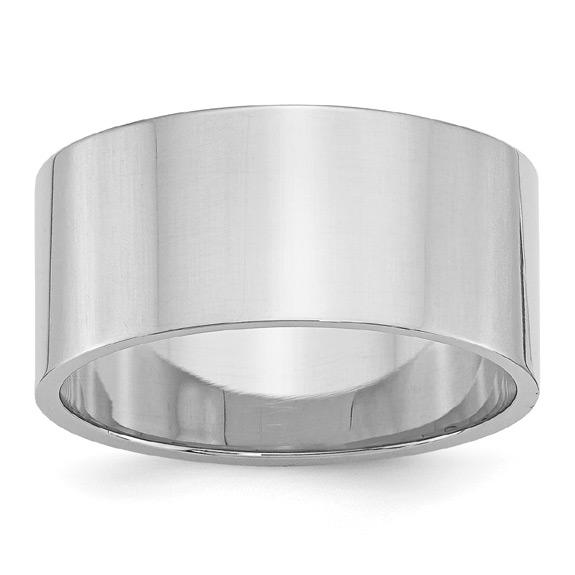 10mm 14K White Gold Flat Wedding Band Ring
