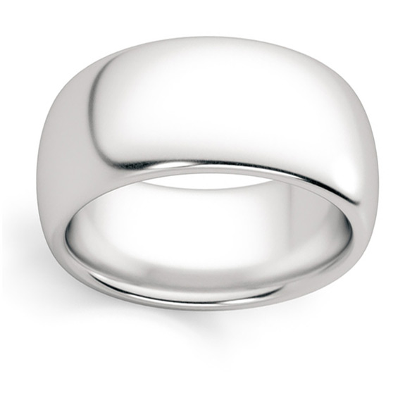 10mm Plain White Gold Wedding Band Ring