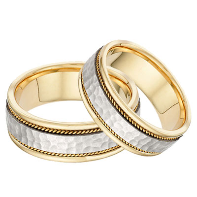 Brushed Hammered Wedding Band Set in 14K Two-Tone Gold