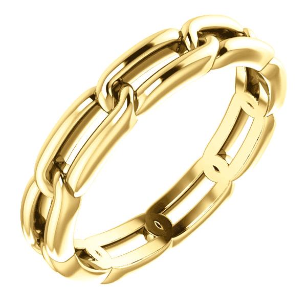 14K Gold Women's Link Design Wedding Band Ring