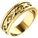 14K Gold X Design Wedding Band Ring for Men
