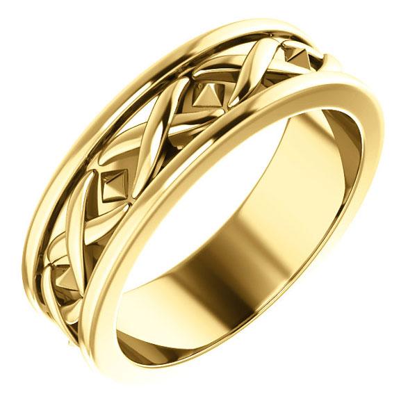 14K Gold X Design Wedding Band Ring for Men