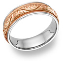 14K Rose and White Gold Paisley Inlay Wedding Band Ring