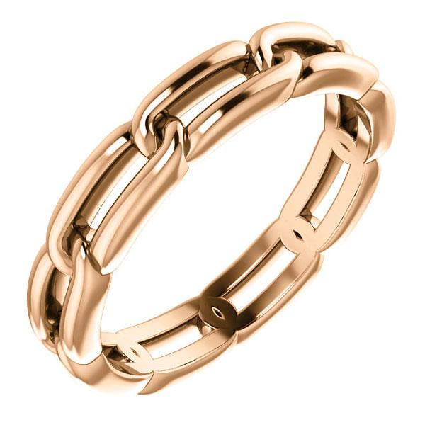 14K Rose Gold Link Design Wedding Band Ring for Women