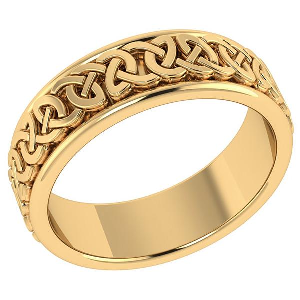 14K Solid Gold Celtic Wedding Band Ring