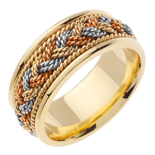 14K Tri-Color Gold Handmade Braided Wedding Band Ring