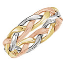 14K Tri-Color Gold Woven Wedding Band Ring for Men or Women