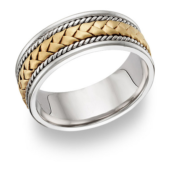 18K Two-Tone Gold Braided Wedding Band