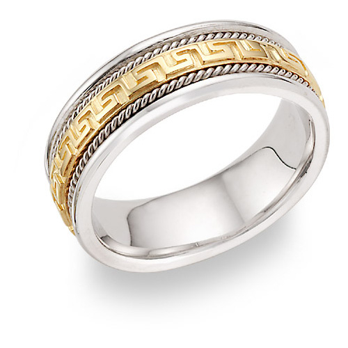 Platinum and 18K Gold Greek Key Wedding Band