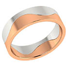 14K White and Rose Gold Two-Halves Wedding Band Ring