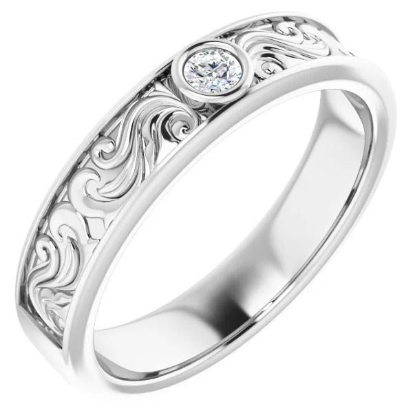 14K White Gold 0.10 Carat Diamond Paisley Wedding Band Ring for Men