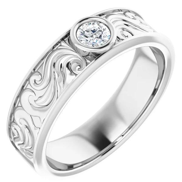 14K White Gold 0.25 Carat Men's Diamond Paisley Wedding Band Ring