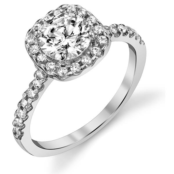 14K White Gold 1 1/2 Carat Diamond Halo Engagement Ring