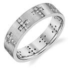 14K White Gold Alternating Diamond Cross Wedding Band Ring