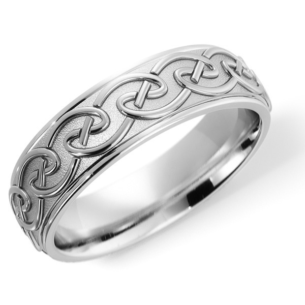 14K White Gold Celtic Knot Embrace Wedding Band Ring