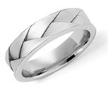 Platinum Deep Braided Wedding Band Ring for Men and Women