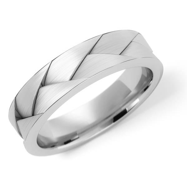 14K White Gold Deep Braided Wedding Band Ring