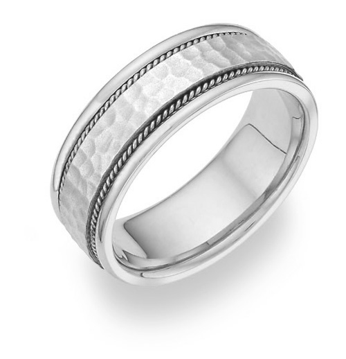 Hammered Wedding Band, 14K White Gold