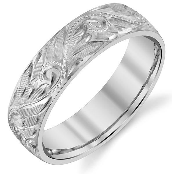 14K White Gold Hand Etched Paisley Wedding Band Ring