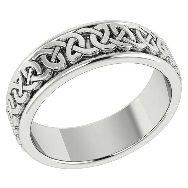Handmade 14K White Gold Celtic Wedding Band Ring