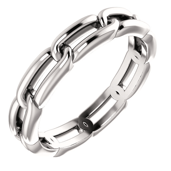 14K White Gold Link Design Wedding Band Ring for Women