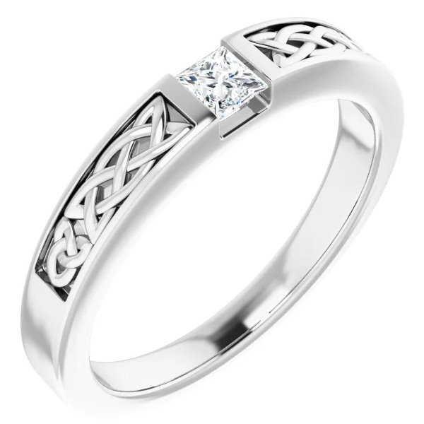 Princess-Cut 14K White Gold Men's Diamond Celtic Wedding Band Ring