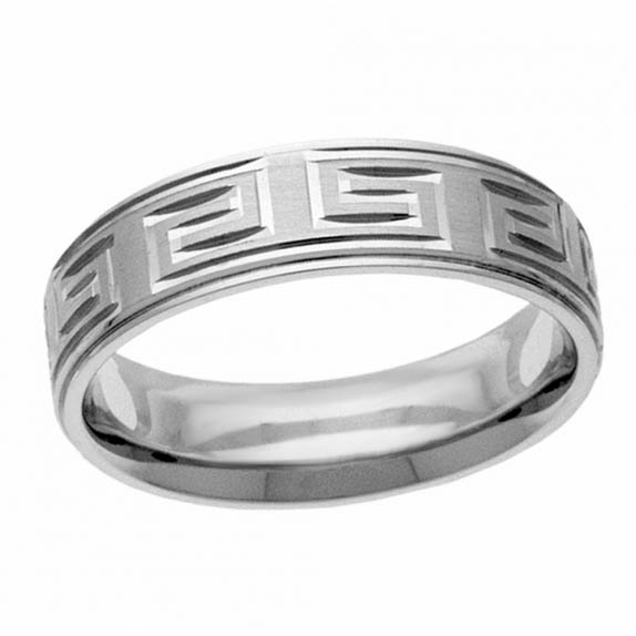 14K White Gold Modern Greek Key Wedding Band Ring