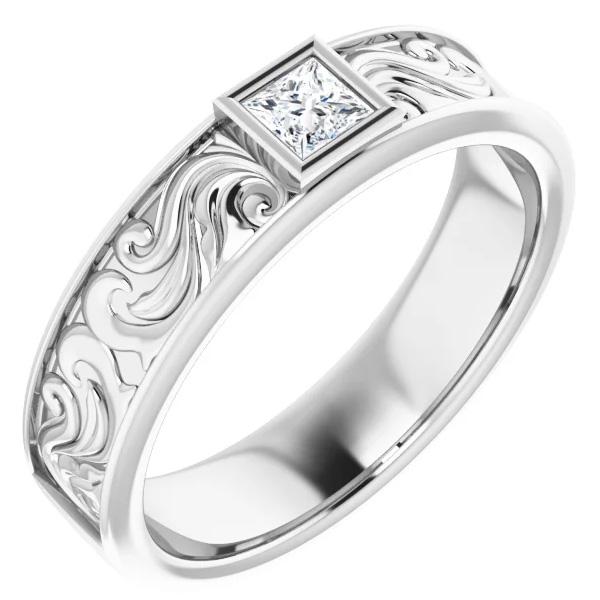 Men's 14K White Gold Princess-Cut Paisley Diamond Wedding Band Ring