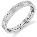 14K White Gold Women's Etched Diamond Wedding Band Ring