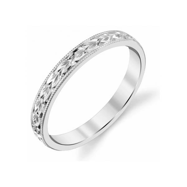 2.5mm 14K White Gold Women's Flower Wedding Band Ring