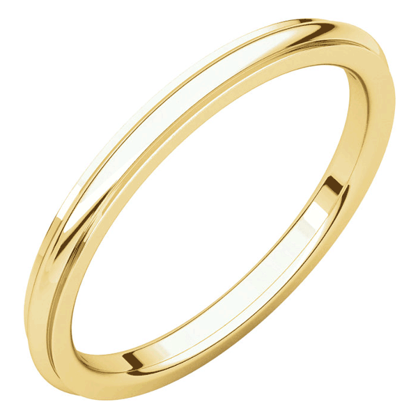 2mm 14K Gold Plain Comfort-Fit Wedding Band Ring with Edge