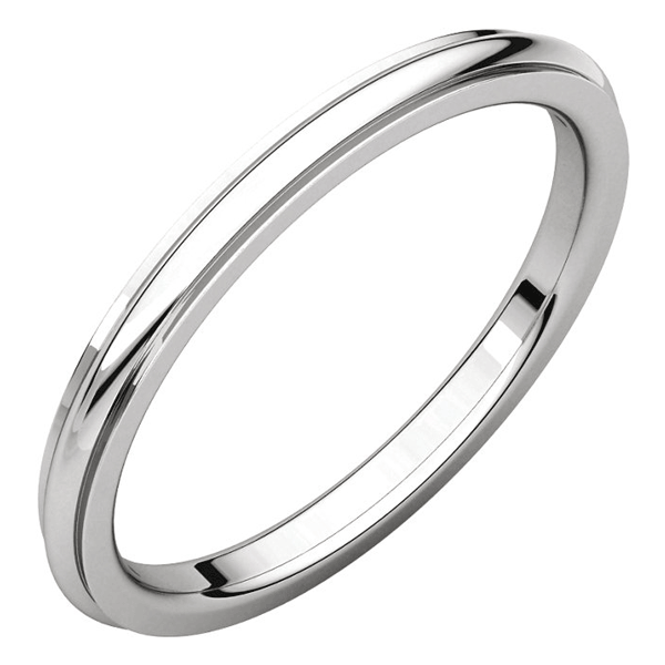 2mm Platinum Plain Comfort-Fit Wedding Band Ring