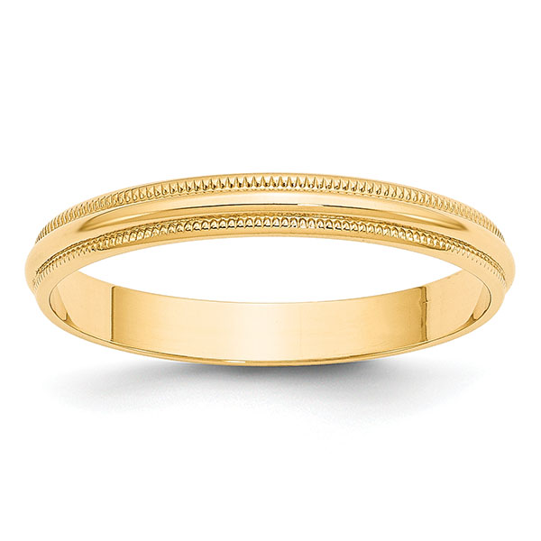 3mm 14k yellow gold plain milgrain wedding band ring