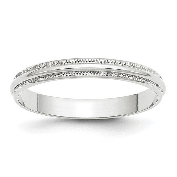 3mm 14k white gold plain milgrain wedding band ring