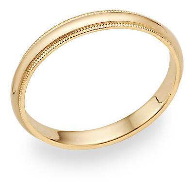 3mm 14K Gold Milgrain Wedding Band Ring