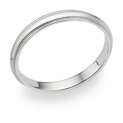 3mm Milgrain Wedding Band in 14K White Gold