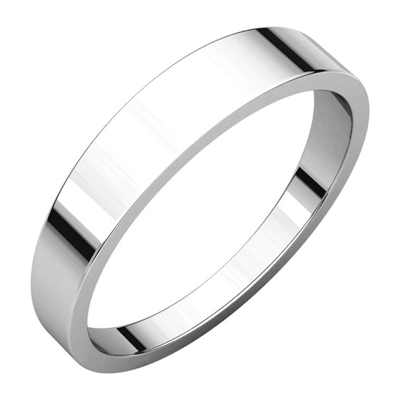 4mm Tapered Wedding Band Ring in 14K White Gold