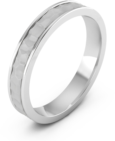 4mm Platinum Hammered Wedding Band