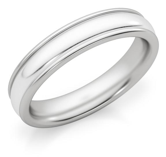 4mm White Gold Polished Wedding Band Ring