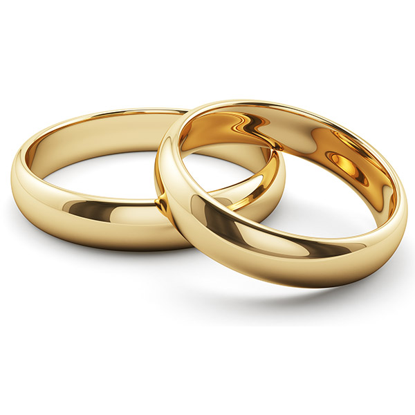 6mm and 4mm 14K Gold Plain Comfort-Fit Wedding Band Ring Set for Husband and Wife