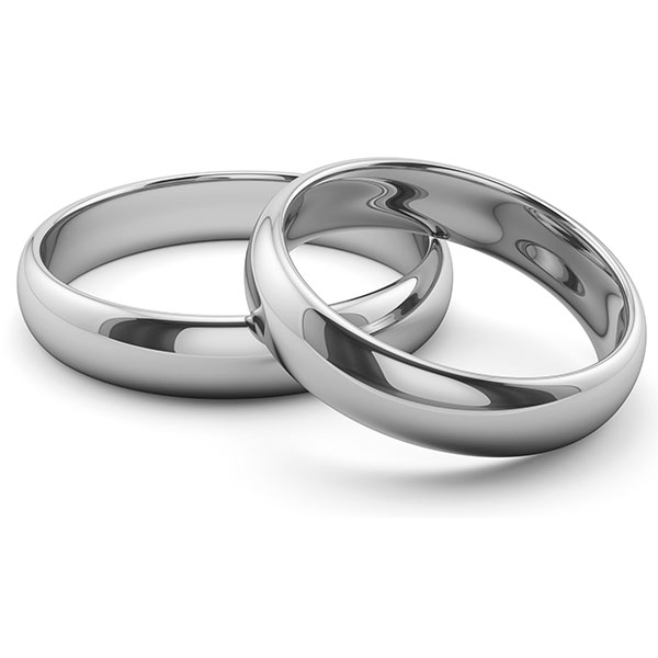 14K White Gold 6mm and 4mm Plain Comfort Fit Wedding Band Ring Set