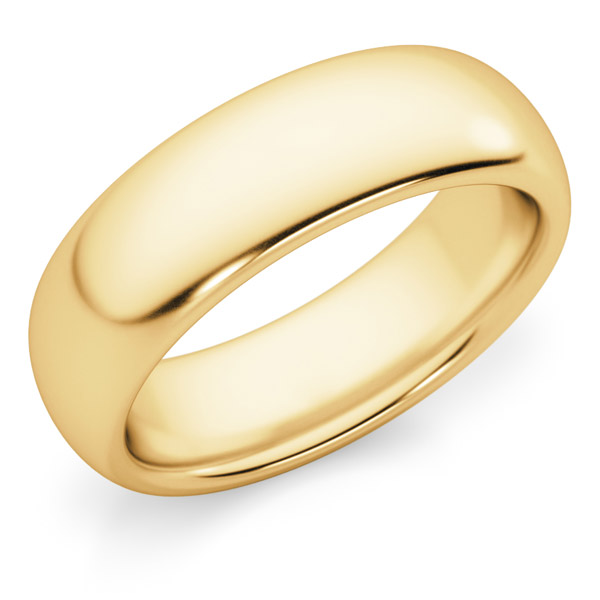 6mm Comfort Fit Gold Wedding Band Ring
