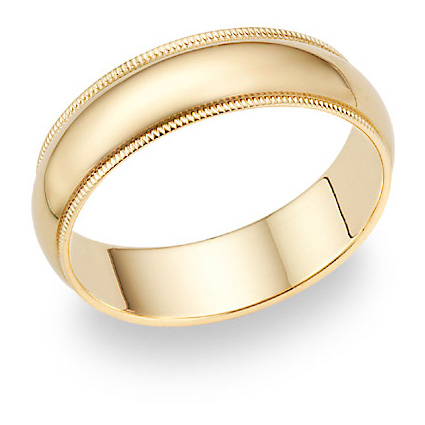 6mm 14K Gold Milgrain Wedding Band Ring