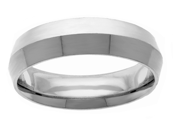6mm Knife-Edge White Gold Wedding Band Ring