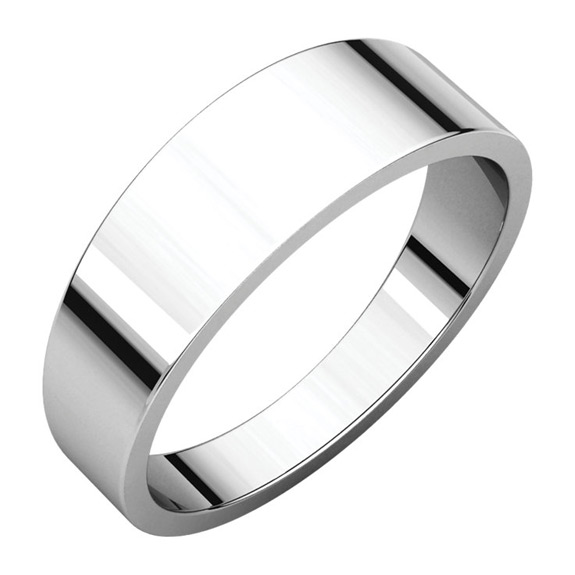 6mm Tapered Wedding Band Ring, 14K White Gold